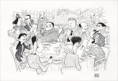 Cartoon of the Algonquin Round Table by Al Hirschfeld. Clockwise, from the bottom left: Robert E. Dorothy Parker, Algonquin Round Table, American Poets, Black And White Portraits, All Art, Line Art, Illustrators, Moose Art, Animation