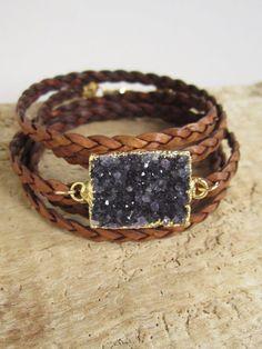 Druzy Bracelet Drusy Quartz Braided Leather