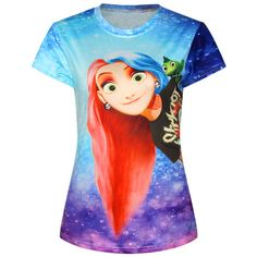 Blue Ladies Crew Neck Cartoon Frozen Anna Printed T-shirt featuring polyvore fashion clothing tops t-shirts blue crewneck tee crewneck t-shirt blue tee cartoon character t shirts comic tees