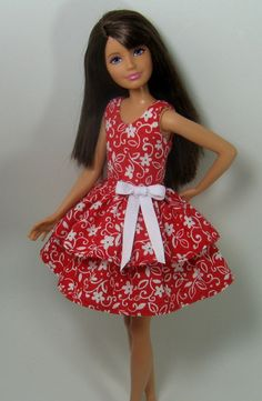 Skipper Doll Clothes  Red and White Floral by OhSoChicDollClothes, $8.50