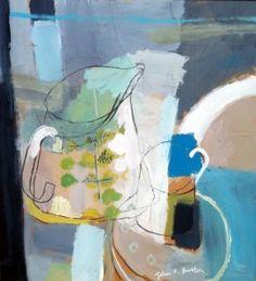 Print of painting, 'Fika med Stig och Susie', John Button Painting Still Life, Still Life Art, English Artists, Art Plastique, Painting Inspiration, Painting & Drawing, Amazing Art, Art Projects, Abstract Art