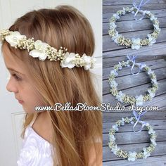 Baby's Breath & Ivory Flowers Crown - Real Dried Floral Hair Wreath, Toddler…