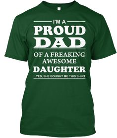 Discover Perfect Gift For Proud Dads! T-Shirt from Father's Day Shirts, a custom product made just for you by Teespring. With world-class production and customer support, your satisfaction is guaranteed. - I'm A Proud Dad Of A Freaking Awesome Daughter. Diy Gifts For Mom, Easy Diy Gifts, Gifts For Husband, Gifts For Family, Cute Gifts, Best Gifts, Dad Gifts, Dad Presents, Creative Gifts