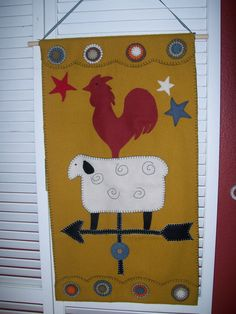 wool felt rooster sheep wall hanging