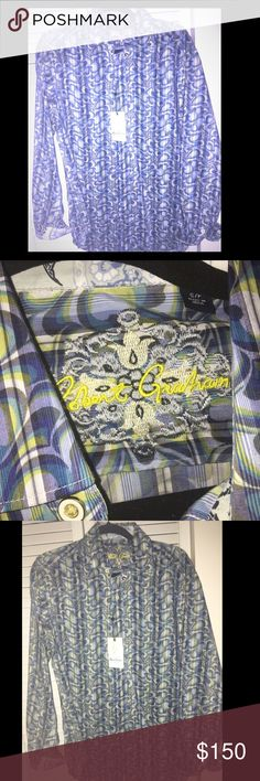 NWT Robert Graham dress shirt size small Bought a few of these for my husband but he already had this one. I live two hours from the RG store, so hoping to sell here. Size small smokefree home. Fabulous!!  What guy doesn't want to look rockin in a Robert Graham dress shirt? Retail $298. This pattern is best described as light blues with a swirly design with hints of green and white. Robert Graham Shirts Casual Button Down Shirts