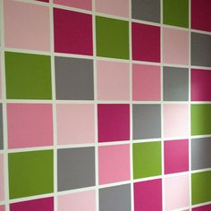 Color Block Wall with such an interesting palette ~ gray, pink, hot pink & green color block accent wall