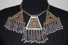 Vintage Bold Beautiful Enamel Geometric Necklace From India