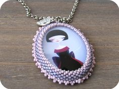 Purple Girl Cabochon Beaded Necklace from Lilybiju by DaWanda.com