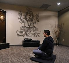 kik429 Wall Decal Sticker Room Decor Wall Art Mural Indian god Ganesha Hinduism welfare bedroom living