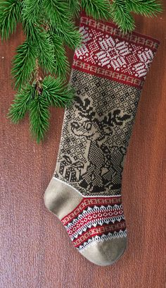 Knit Christmas Stocking Christmas Deer with Present by SELENMAR