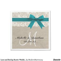 Lace and Burlap Rustic Wedding Napkin Turquoise