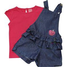 Cegonha Feliz Tamanho 1 ao 3 : Conjunto Infantil Feminina Jardineira e Blusa Momi