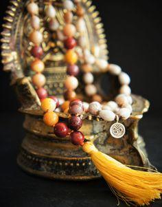 108 Root Sacral and Solar Plexus Chakra Mala Mookite by DakiniUK