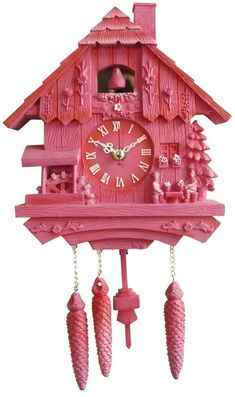 They were very popular in the past. Almost every house had a cuckoo clock on their wall. Pink Love, Pretty In Pink, Estilo Kitsch, Coo Coo Clock, Color Magenta, Tout Rose, Love Vintage, Boutique Deco, Wall Ornaments