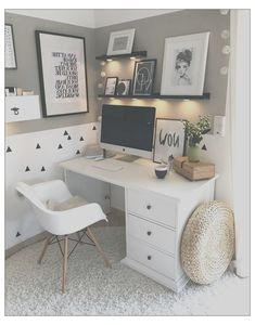 Study Room Decor, Room Ideas Bedroom, Small Room Bedroom, Small Rooms, Small Spaces, Small Desk Space, Teen Bedroom Desk, Bedroom Study Area, Master Bedroom