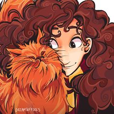 Hermione and Crookshanks by dreamsoffools  I really like this. Its not distinctly, immediately Hermione, but it is great!