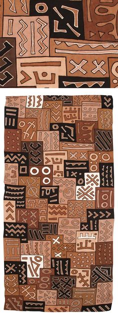 Africa | Mud cloth from the Bamana people of Mali or Burkina Faso | Handspun local cotton and mineral dyes