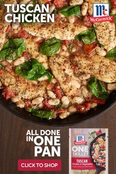Treat your crew to a skillet meal inspired by the warm and sunny flavors of the Mediterranean. With notes of oregano, sun-dried tomato and lemon, McCormick® ONE Seasoning Mix brings chicken, beans, tomatoes and spinach to life in just 20 minutes. Crockpot Recipes, Diet Recipes, Chicken Recipes, Cooking Recipes, Healthy Recipes, One Pot Meals, Easy Meals, Tuscan Chicken, Pasta