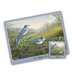 The Songbirds Placemat and Coaster Set - Blue Jay