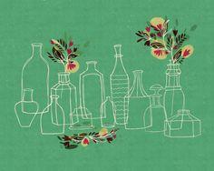 Glass Bottles - Vintage inspired Wall Art Print, Green, 8 x 10.
