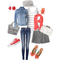 Coral & Grey Mix'n'Match, created by ster-dub on Polyvore
