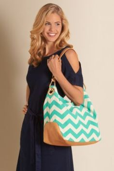 Chevron Hobo Bag - Chevron Canvas Bag, Hobo Handbag | Soft Surroundings