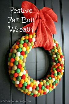 Festive Felt Ball Wreaths