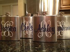 Stainless Steel Personalized Flask for Groomsman or by VinyleYours, $36.00