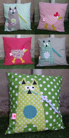 Creative Make A Pillow Or Cushion Ideas. Awe-Inspiring Make A Pillow Or Cushion Ideas. Fabric Crafts, Sewing Crafts, Sewing Projects, Love Sewing, Sewing For Kids, Kids Pillows, Throw Pillows, Cute Cushions, Cat Quilt
