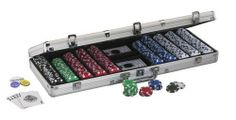 Fat Cat Hold'em Dealer Poker Chip Set (500 Chips) by Fat Cat. $34.46. Amazon.com                Ideal for tournaments, card clubs, or late-night poker games with the buddies, this Fat Cat Hold'em Dealer poker chip set includes everything you need to keep the games flowing. The Hold'em Dealer set comes with 500 11.5-gram striped dice chips--150 white chips, 150 blue chips, 100 red chips, 50 green chips, and 50 black chips--along with a lockable silver aluminum case that h...