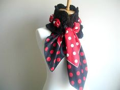 Neckwarmer With Satin Scarf Red Black And White by crochetlab, $28.00