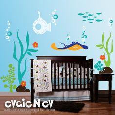 Underwater Wall Decals Fish Wall Sticker  Underwater by evgieNev, $119.00