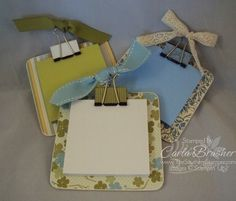 Chipboard coaster post-it note holder. Use a binder clip to attach the post-its. Great teacher gift! Can monogram the coaster, too.