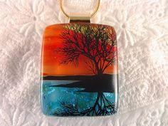 Dichroic Reflection Tree Pendant Fused Glass by AngelasArtGlass, $25.00