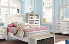 Transitional Youth Bedroom Set Interchangeable Headboard and Mirror Panel
