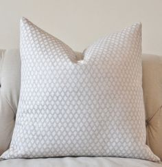 Light Gray and White Pillow -  Silver Grey Woven Geometric Diamond Pillow Cover - Colefax and Fowler Throw Pillow - Designer Grey Pillow