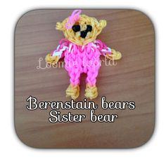 Rainbow Loom Bands Berenstain Bears : Sister Bear Charm Figure tutorial by Loomie World. Rainbow Loom Characters, Rainbow Loom Bands, Rainbow Loom Charms, Rainbow Loom Creations, Free Activities For Kids, Berenstain Bears, Rubber Bands, Girl Scouts, Action Figures