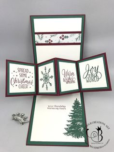 Stampin' Up! Twist and Pop Panel Card Tin of Tags and Winter Woods by Lisa Ann Bernard of Queen B Creations Pop Up Christmas Cards, Xmas Cards, Holiday Cards, Greeting Cards, Fun Fold Cards, Pop Up Cards, Folded Cards, Diy Cards, Winter Karten
