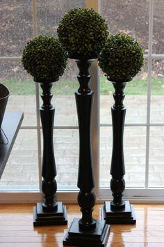 Like the topiary balls on top of the wooden candlesticks. Floor Candle Holders Tall, Large Candle Holders, Lantern Candle Holders, Candle Stands, Ikea Trones, Wooden Pillars, Tuscan Decorating, Candlesticks, Candleholders