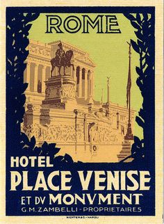 Vintage luggage label for a hotel in Rome