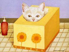 Art by Lowell Herrero. #cats #art #cute