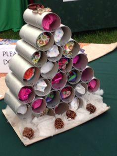 Advent calendar..great idea for recycling tissue tubes, but I'd paint them green first