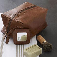 2704e8a76f Tan rugged leather wash bag