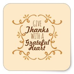 With A Grateful Heart Thanksgiving   Sticker Seal - elegant gifts gift ideas custom presents