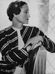 """Wallis Simpson, Duchess of Windsor.  """"My husband gave up everything for me.  I'm not a beautiful woman.  I'm nothing to look at, so the only thing I can do is dress better than anyone else.""""  ...and she did, in the finest Paris couture."""