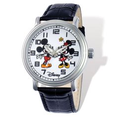 Versil Disney Women's Mickey and Minnie Black Leather Watch (black leather strap), Size One Size Fits All Mickey Mouse Images, Mickey Mouse Watch, Disney Mickey Mouse, Minnie Mouse, Disney Men, Vintage Silver, Vintage Men, Vintage Style, Retro Style