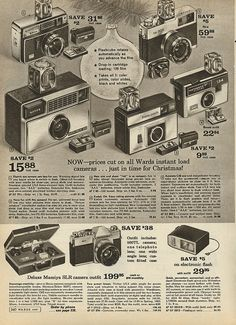 Instant Cameras in Montgomery Ward Christmas Catalog, 1968, by Wishbook, via Flickr