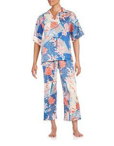 N Natori Floral Cropped Pajama Set Women's Blue Multi X-Large
