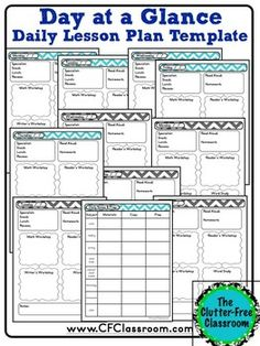 week at a glance lesson plan template - day at a glance lesson planner for your teacher binder