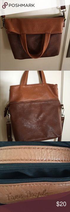 Free people vegan leather bag Two tone brown vegan leather by free people Free People Bags Shoulder Bags